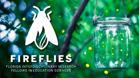 FIREFLIES logo superimposed on an image of a tree with a jar of lightning bugs